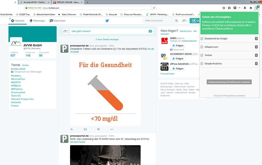 Cliqz Screenshot twitter.com